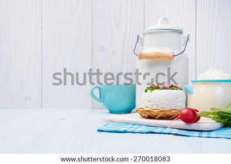 Components of a healthy breakfast. Dairy products. - stock photo