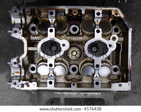 Components of an automobile engine - stock photo