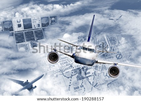 Composing illustrates the modern air traffic. - stock photo