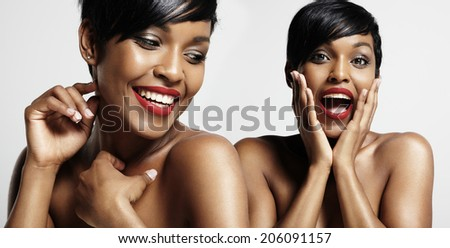 composing of 2 portraits of happy woman - stock photo