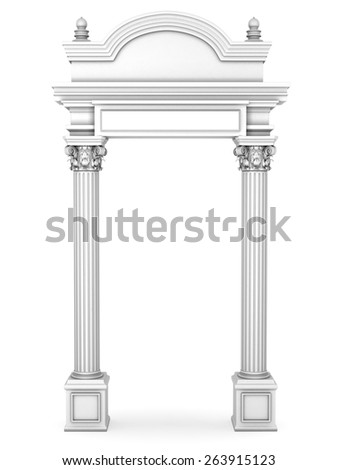 Composite Antique Greek Arc Isolated on White - stock photo