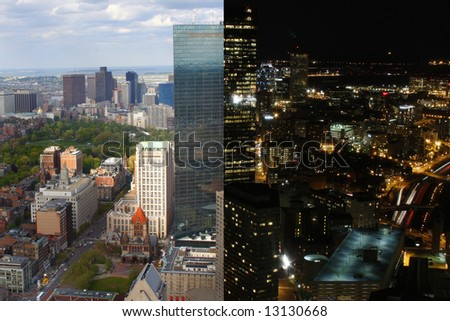 Composite cityscape view in day & night - stock photo