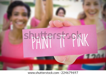 Composite image for breast cancer awareness with text on card - stock photo