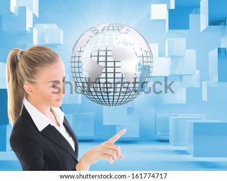 Composite image of blonde businesswoman pointing somewhere - stock photo