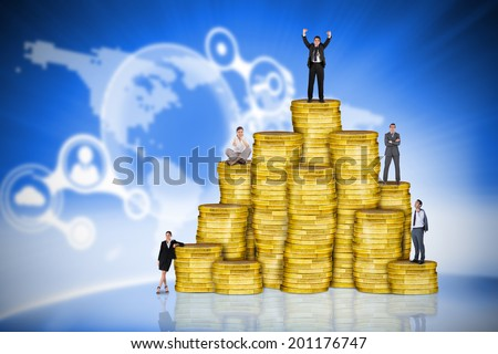 Composite image of business people on pile of coins against futuristic technology interface - stock photo