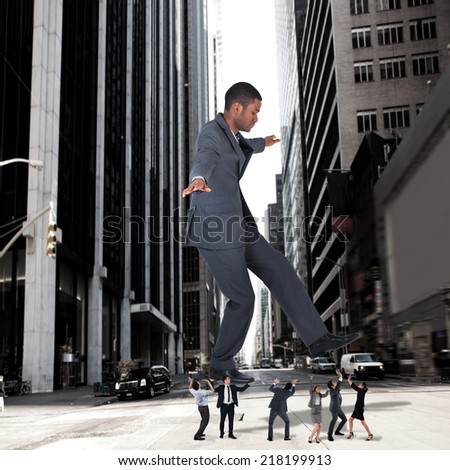 Composite image of business team supporting boss against new york street - stock photo