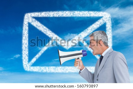 Composite image of businessman shouting in loud speaker - stock photo