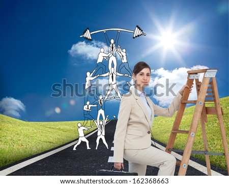 Composite image of businesswoman climbing career ladder with briefcase and looking at camera - stock photo