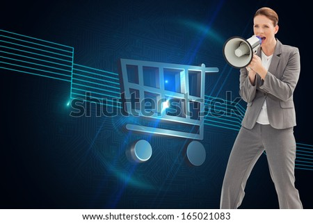 Composite image of businesswoman is talking on a megaphone - stock photo