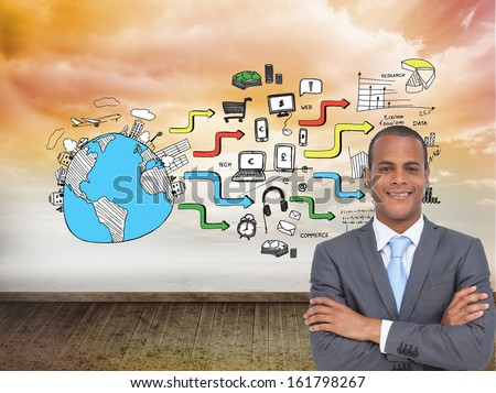 Composite image of charismatic young businessman with arms crossed - stock photo