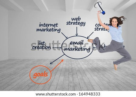 Composite image of cheerful classy businesswoman jumping while holding megaphone - stock photo