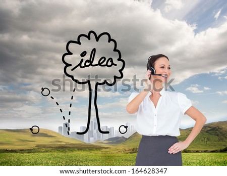 Composite image of cheerful smart call center agent working while posing - stock photo