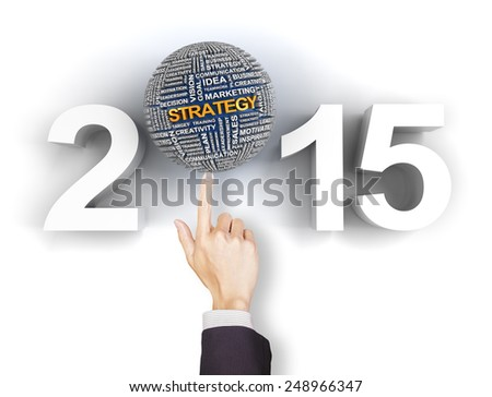 Composite image of clicking 2015 business strategy text - stock photo