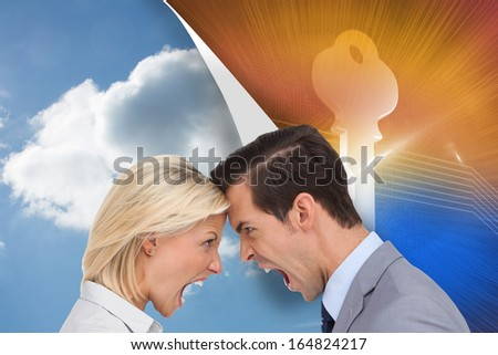 Composite image of colleagues quarreling head against head - stock photo