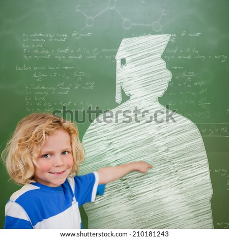 Composite image of cute pupil with graduate outline in classroom - stock photo
