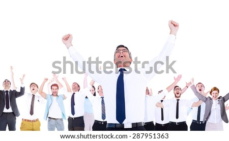 Composite image of excited businessman with glasses cheering with coworkers - stock photo