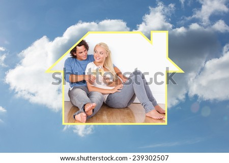 Composite image of lovely couple toasting against cloudy sky - stock photo