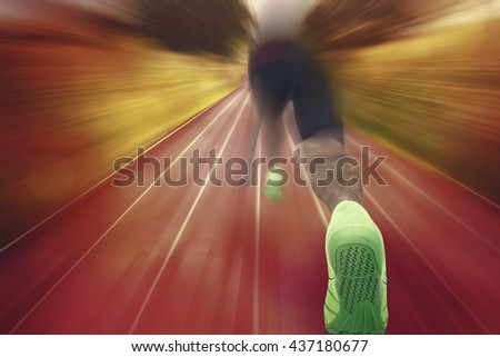 Composite image of male athlete in ready to run position against a design background - stock photo