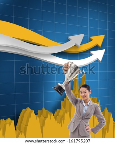 Composite image of portrait of a businesswoman showing a cup - stock photo