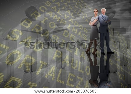 Composite image of serious business team against airport departures board for south america - stock photo