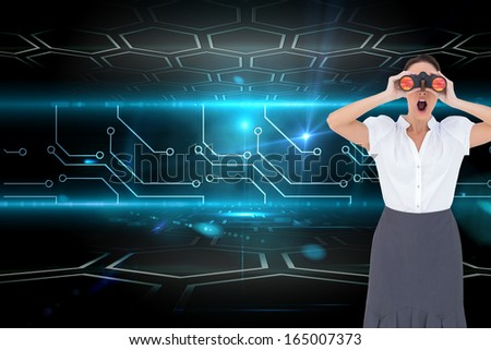 Composite image of shocked elegant businesswoman looking through binoculars while posing - stock photo