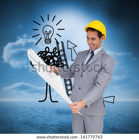 Composite image of smiling architect with hard hat looking at plans on white background - stock photo