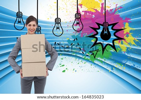 Composite image of smiling businesswoman carrying cardboard boxes - stock photo