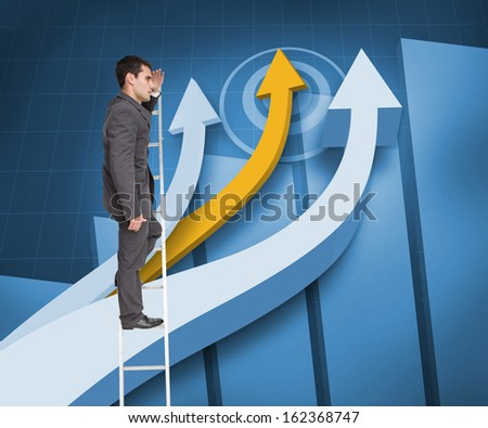 Composite image of stern businessman standing on ladder peering - stock photo