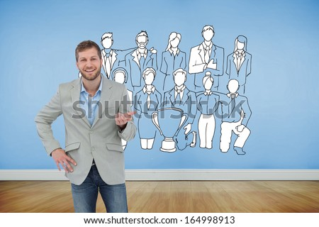 Composite image of stylish man smiling and gesturing with hand up - stock photo