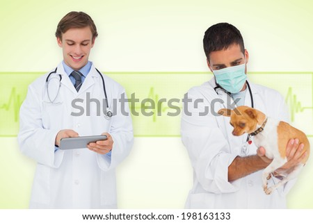 Composite image of vet and smiling doctor against medical background with green ecg line - stock photo
