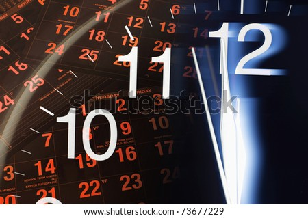 Composite of Calendar and Clock Face - stock photo