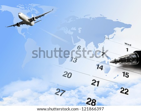 composite of calendar and world map and airplane. - stock photo