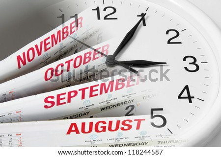Composite of Calendar Pages and Clock - stock photo