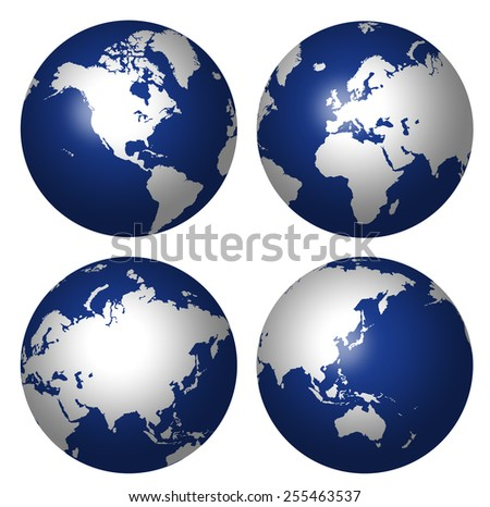 COMPOSITE OF FOUR GLOBES SHOWING CONTINENTS - stock photo