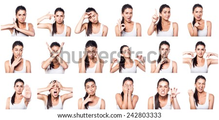 Composite of positive and negative emotions and gestures with gi - stock photo