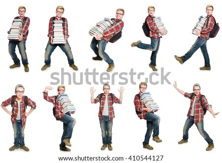 Composite photo of student with books - stock photo