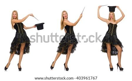 Composite photo of woman doing tricks - stock photo