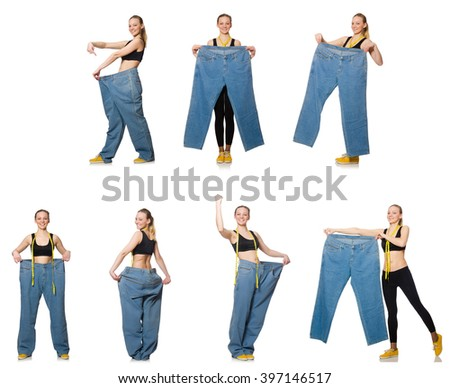 Composite photo of woman in dieting concept - stock photo