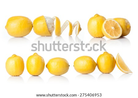 composite with yellow lemon  isolated on white background  - stock photo