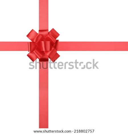 composition for present or gift with red ribbon bow, isolated on white - stock photo