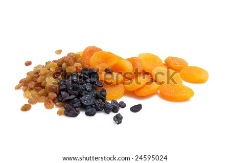 Composition from dried fruits  isolated on white background. - stock photo