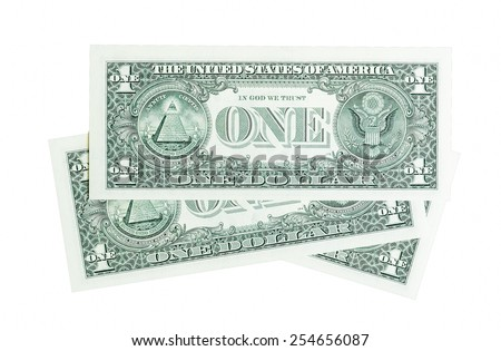 Composition from one dollar bills isolated on white. - stock photo