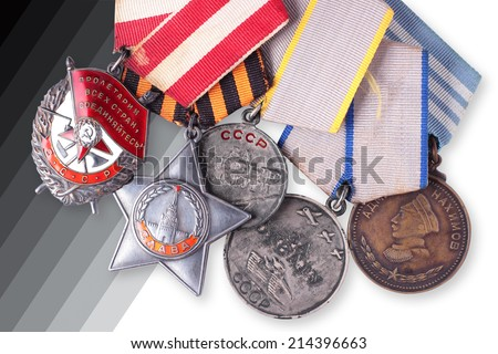 Composition from the Soviet military awards of times of World War II. It is isolated, the worker of paths is present. - stock photo