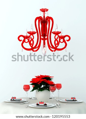 Composition in the glamorous style that consist of  a table, covered with white cloth and red decor and red modern lamp - stock photo