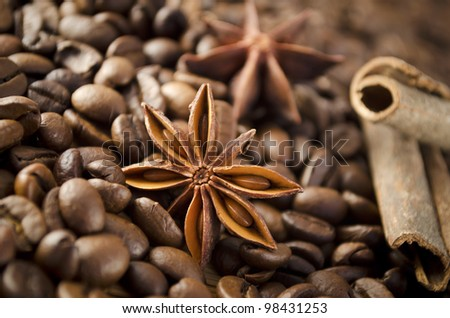 Composition of anise, coffee beans and cinnamon - stock photo