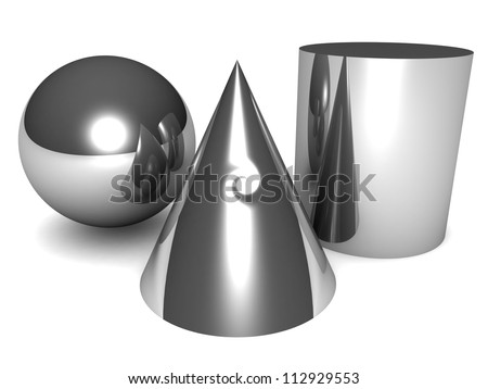 composition of basic 3d geometric shapes isolated on a white background - stock photo