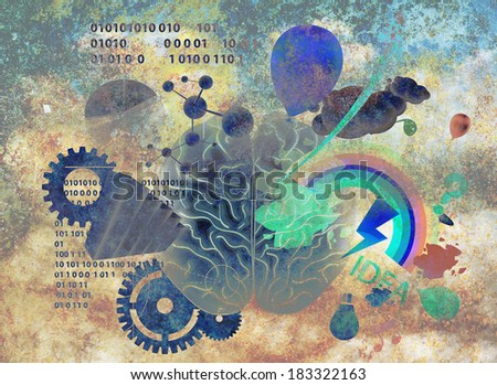 Composition of  brain - stock photo