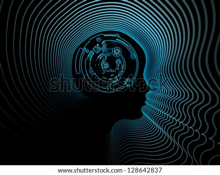 Composition of clock gears, numbers and human head outline on the subject of consciousness, artificial intelligence and technology - stock photo
