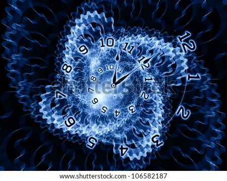 Composition of clock hands, gears, lights and numbers as a concept metaphor on subject of time sensitive issues, deadlines, scheduling, temporal computational processes, past, present and future - stock photo