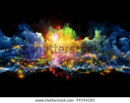 Composition of clouds of fractal foam and abstract lights suitable as a backdrop for the projects on art, spirituality, painting, music , visual effects and creative technologies - stock photo